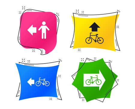 Ilustración de Pedestrian road icon. Bicycle path trail sign. Cycle path. Arrow symbol. Geometric colorful tags. Banners with flat icons. Trendy design. Vector - Imagen libre de derechos