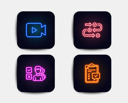 Illustration pour Neon set of Survey progress, Opinion and Video camera icons. Checklist sign. Algorithm, Choose answer, Movie or cinema. Survey. Neon icons. Glowing light banners. Vector - image libre de droit