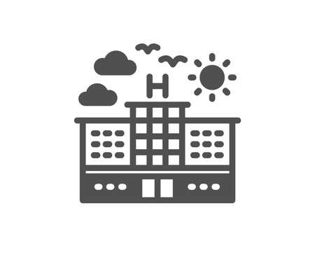 Ilustración de Hotel icon. Travel sign. Holidays building symbol. Quality design element. Classic style icon. Vector - Imagen libre de derechos