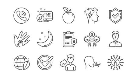 Illustration pour Check mark, Sharing economy and Mindfulness stress line icons. Privacy Policy, Social Responsibility. Linear icon set.  Vector - image libre de droit