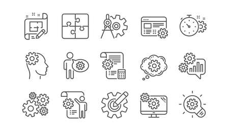 Illustrazione per Engineering line icons. Puzzle, Dividers tool and Architect plan. Engineer linear icon set.  Vector - Immagini Royalty Free