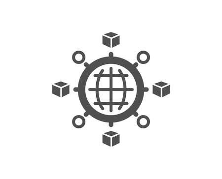 Illustration pour Logistics network icon. Parcel tracking sign. Goods distribution symbol. Quality design element. Classic style icon. Vector - image libre de droit