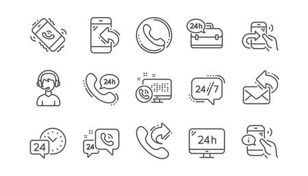 Illustration pour Processing line icons. Call center, Support and Chat message. 24 hour service linear icon set  Vector - image libre de droit