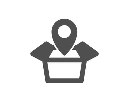 Illustration pour Package tracking icon. Delivery monitoring sign. Shipping box location symbol. Quality design element. Classic style icon. Vector - image libre de droit