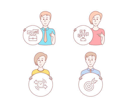 Illustration pour People hand drawn style. Set of Timer, Business portfolio and Quiz test icons. Target sign. Stopwatch, Job interview, Interview. Targeting.  Character hold circle button. Man with like hand. Vector - image libre de droit