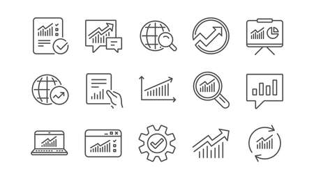 Ilustración de Analytics line icons. Reports, Charts and Graphs. Data statistics linear icon set.  Vector - Imagen libre de derechos