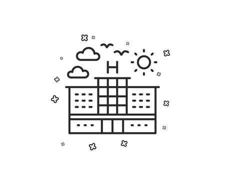 Ilustración de Hotel line icon. Travel sign. Holidays building symbol. Geometric shapes. Random cross elements. Linear Hotel icon design. Vector - Imagen libre de derechos