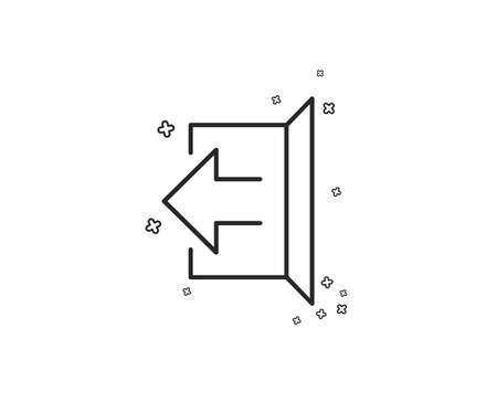 Illustration for Logout arrow line icon. Sign out symbol. Navigation pointer. Geometric shapes. Random cross elements. Linear Sign out icon design. Vector - Royalty Free Image