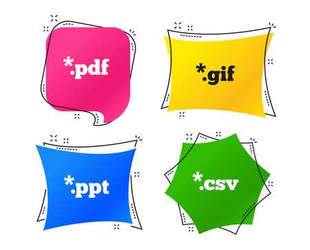 Ilustración de Document icons. File extensions symbols. PDF, GIF, CSV and PPT presentation signs. Geometric colorful tags. Banners with flat icons. Trendy design. Vector - Imagen libre de derechos