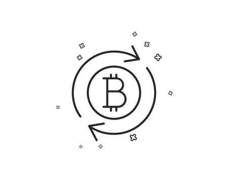 Ilustración de Bitcoin line icon. Refresh cryptocurrency coin sign. Crypto money symbol. Geometric shapes. Random cross elements. Linear Refresh bitcoin icon design. Vector - Imagen libre de derechos