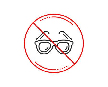 Ilustración de No or stop sign. Travel sunglasses line icon. Trip sun glasses sign. Holidays symbol. Caution prohibited ban stop symbol. No  icon design.  Vector - Imagen libre de derechos