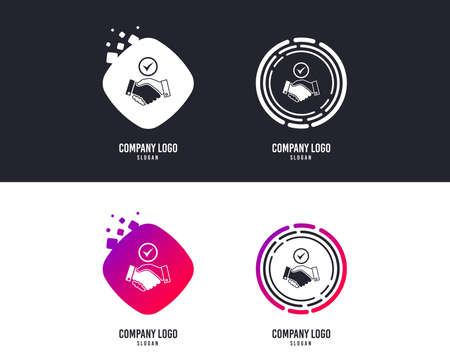 Illustration pour Tick handshake sign icon. Successful business with check mark symbol.  Colorful buttons with icons. Vector - image libre de droit