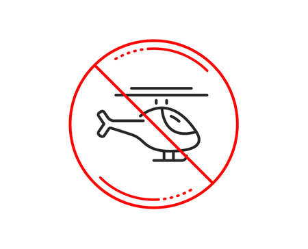 Illustration pour No or stop sign. Helicopter transport line icon. Flight transportation sign. Caution prohibited ban stop symbol. No  icon design.  Vector - image libre de droit
