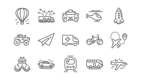 Illustration pour Transport line icons. Taxi, Helicopter and Train. Airplane linear icon set.  Vector - image libre de droit