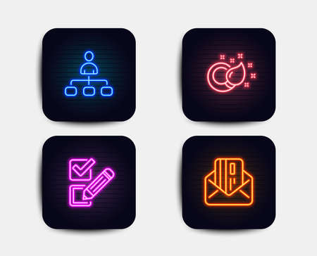 Illustration pour Neon glow lights. Set of Paint brush, Checkbox and Management icons. Credit card sign. Creativity, Survey choice, Agent. Mail.  Neon icons. Glowing light banners. Vector - image libre de droit