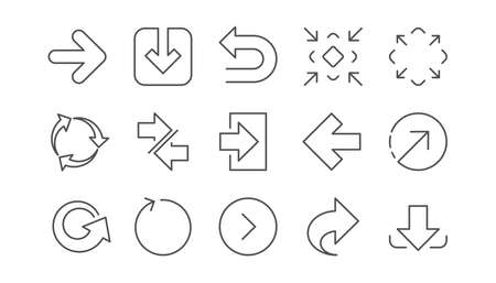 Illustration pour Arrow icons. Download, Synchronize and Share. Navigation linear icon set.  Vector - image libre de droit