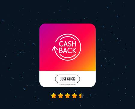 Ilustración de Cashback service line icon. Money transfer sign. Rotation arrow symbol. Web or internet line icon design. Rating stars. Just click button. Vector - Imagen libre de derechos