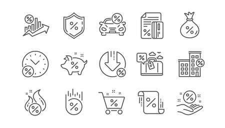 Ilustración de Loan line icons. Investment, Interest rate and Percentage diagram. Car leasing linear icon set.  Vector - Imagen libre de derechos