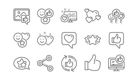 Ilustración de Social media line icons. Share network, Like thumbs up and Rating. Feedback smile linear icon set.  Vector - Imagen libre de derechos