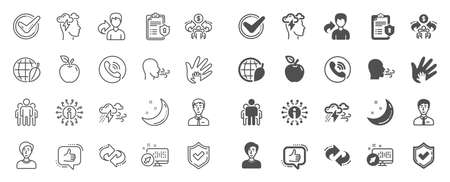 Illustrazione per Check mark, Sharing economy and Mindfulness stress, Breath people line icons. Privacy Policy, Social Responsibility, Breath icons. Bad weather, Tick check mark, sharing refer, stress. Quality sign set - Immagini Royalty Free