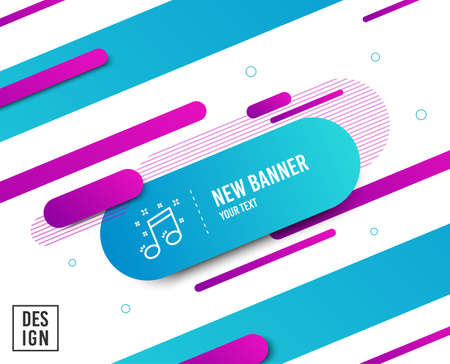 Illustration for Musical note line icon. Music sign. Diagonal abstract banner. Linear musical note icon. Geometric line shapes. Vector - Royalty Free Image