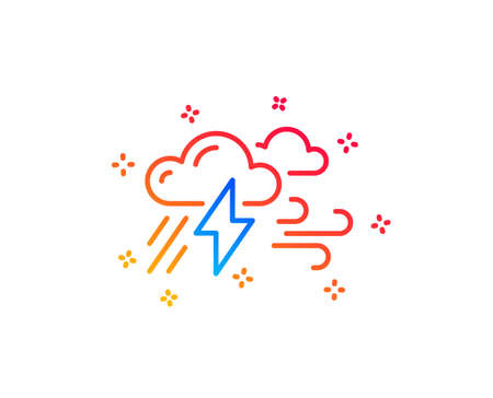 Illustrazione per Clouds with raindrops, lightning, wind line icon. Bad weather sign. Gradient design elements. Linear bad weather icon. Random shapes. Vector - Immagini Royalty Free