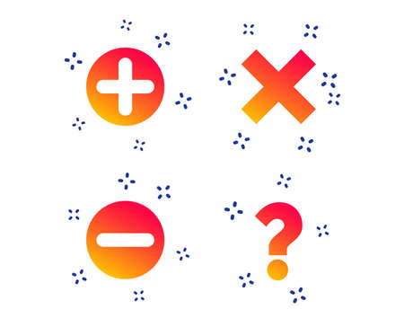 Illustration pour Plus and minus icons. Delete and question FAQ mark signs. Enlarge zoom symbol. Random dynamic shapes. Gradient question icon. Vector - image libre de droit