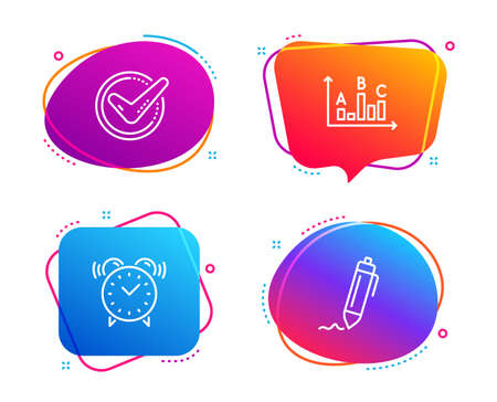 Illustration pour Alarm clock, Survey results and Confirmed icons simple set. Signature sign. Time, Best answer, Accepted message. Written pen. Business set. Speech bubble alarm clock icon. Colorful banners design set - image libre de droit