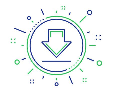 Ilustración de Download line icon. Internet Downloading sign. Load file symbol. Quality design elements. Technology downloading button. Editable stroke. Vector - Imagen libre de derechos