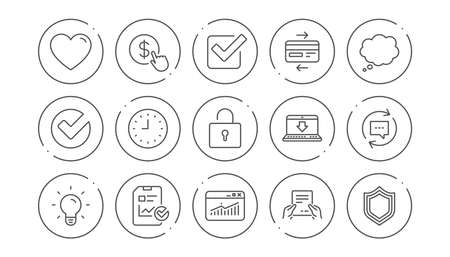 Illustration pour Report, Time and Credit card line icons. Statistics, Light bulb and Shield protection. Linear icon set. Line buttons with icon. Editable stroke. Vector - image libre de droit