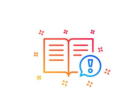 Ilustración de Interesting facts line icon. Exclamation mark sign. Book symbol. Gradient design elements. Linear facts icon. Random shapes. Vector - Imagen libre de derechos