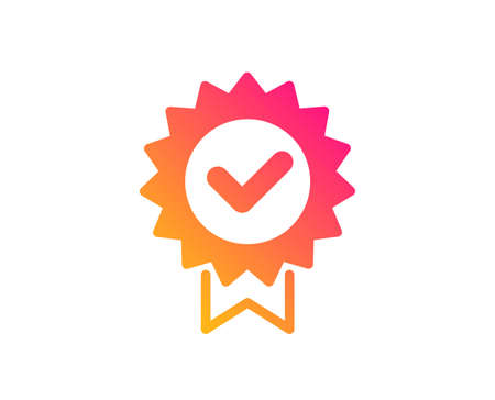 Illustration pour Certificate icon. Verified award sign. Accepted or confirmed symbol. Classic flat style. Gradient certificate icon. Vector - image libre de droit