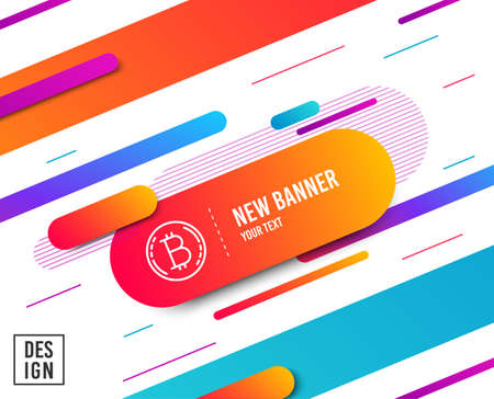 Illustration for Bitcoin line icon. Cryptocurrency coin sign. Crypto money symbol. Diagonal abstract banner. Linear bitcoin icon. Geometric line shapes. Vector - Royalty Free Image