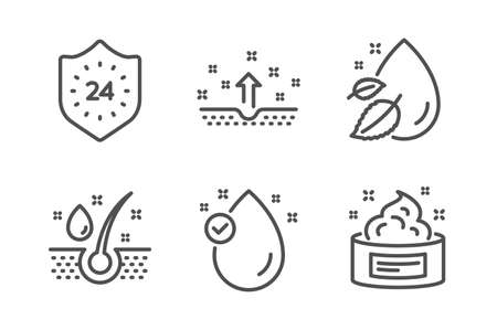 Illustration pour 24 hours, Serum oil and Water drop icons simple set. Clean skin, Vitamin e and Skin cream signs. Protection, Healthy hairs. Beauty set. Line 24 hours icon. Editable stroke. Vector - image libre de droit