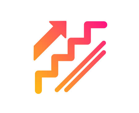 Illustration for Stairs icon. Shopping stairway sign. Entrance or Exit symbol. Classic flat style. Gradient stairs icon. Vector - Royalty Free Image