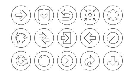 Illustration pour Arrow icons. Download, Synchronize and Share. Navigation linear icon set. Line buttons with icon. Editable stroke. Vector - image libre de droit