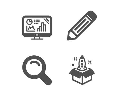 Illustration pour Set of Pencil, Analytics graph and Search icons. Startup sign. Edit data, Growth report, Magnifying glass. Innovation.  Classic design pencil icon. Flat design. Vector - image libre de droit