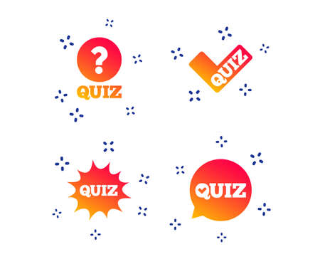 Illustration pour Quiz icons. Speech bubble with check mark symbol. Explosion boom sign. Random dynamic shapes. Gradient quiz icon. Vector - image libre de droit