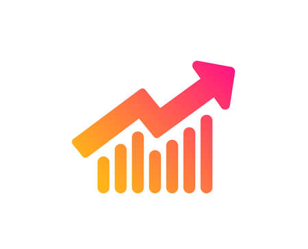 Ilustración de Chart icon. Report graph or Sales growth sign. Analysis and Statistics data symbol. Classic flat style. Gradient demand curve icon. Vector - Imagen libre de derechos