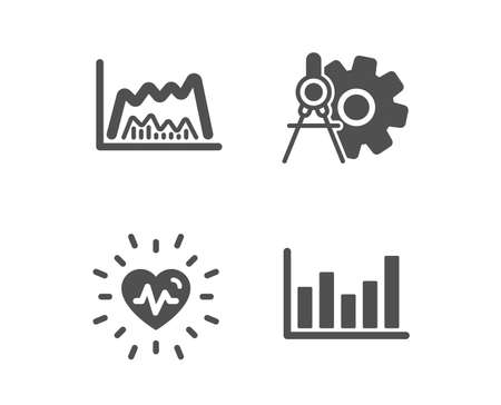 Illustration pour Set of Heartbeat, Trade chart and Cogwheel dividers icons. Column chart sign. Medical heart, Market data, Settings. Financial graph.  Classic design heartbeat icon. Flat design. Vector - image libre de droit