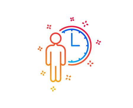 Ilustración de Person waiting line icon. Service time sign. Clock symbol. Gradient design elements. Linear waiting icon. Random shapes. Vector - Imagen libre de derechos