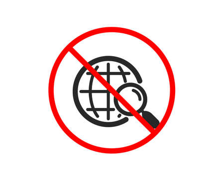 Illustration pour No or Stop. Web search icon. Find internet results sign. Prohibited ban stop symbol. No web search icon. Vector - image libre de droit