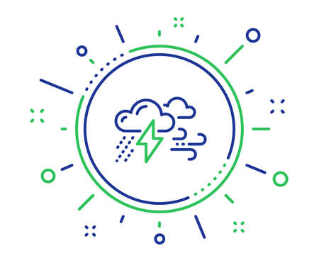 Illustrazione per Clouds with raindrops, lightning, wind line icon. Bad weather sign. Quality design elements. Technology bad weather button. Editable stroke. Vector - Immagini Royalty Free