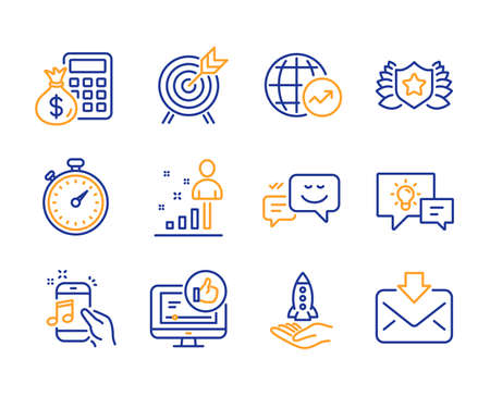 Illustration pour Idea lamp, World statistics and Stats icons simple set. Happy emotion, Crowdfunding and Finance calculator signs. Music phone, Archery and Like video symbols. Line idea lamp icon. Colorful set - image libre de droit