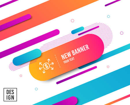 Illustration for Dollar exchange line icon. Payment sign. Finance symbol. Diagonal abstract banner. Linear dollar exchange icon. Geometric line shapes. Vector - Royalty Free Image