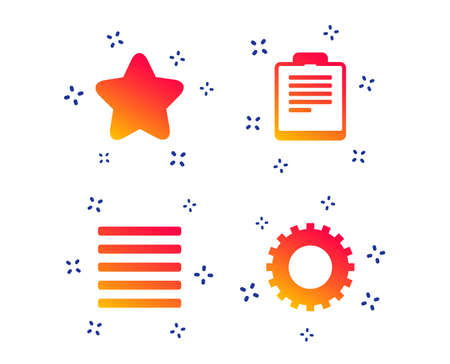 Illustration pour Star favorite and menu list icons. Checklist and cogwheel gear sign symbols. Random dynamic shapes. Gradient menu icon. Vector - image libre de droit