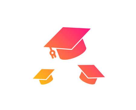 Ilustración de Graduation caps icon. Education sign. Student hat symbol. Classic flat style. Gradient throw hats icon. Vector - Imagen libre de derechos