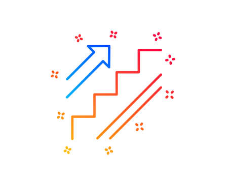 Illustration for Stairs line icon. Shopping stairway sign. Entrance or Exit symbol. Gradient design elements. Linear stairs icon. Random shapes. Vector - Royalty Free Image