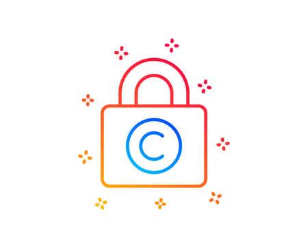 Illustration pour Copyright locker line icon. Copywriting sign. Private Information symbol. Gradient design elements. Linear copyright locker icon. Random shapes. Vector - image libre de droit