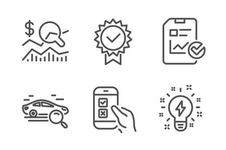 Illustration pour Mobile survey, Certificate and Check investment icons simple set. Search car, Report checklist and Inspiration signs. Phone quiz test, Verified award. Business set. Line mobile survey icon. Vector - image libre de droit